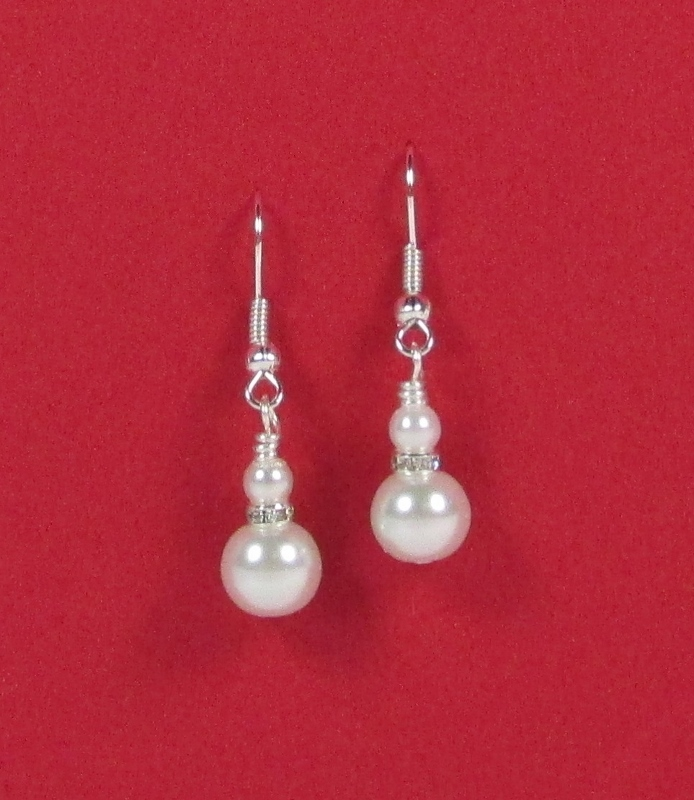 White glass pearl and rhinestone drop pierced earrings