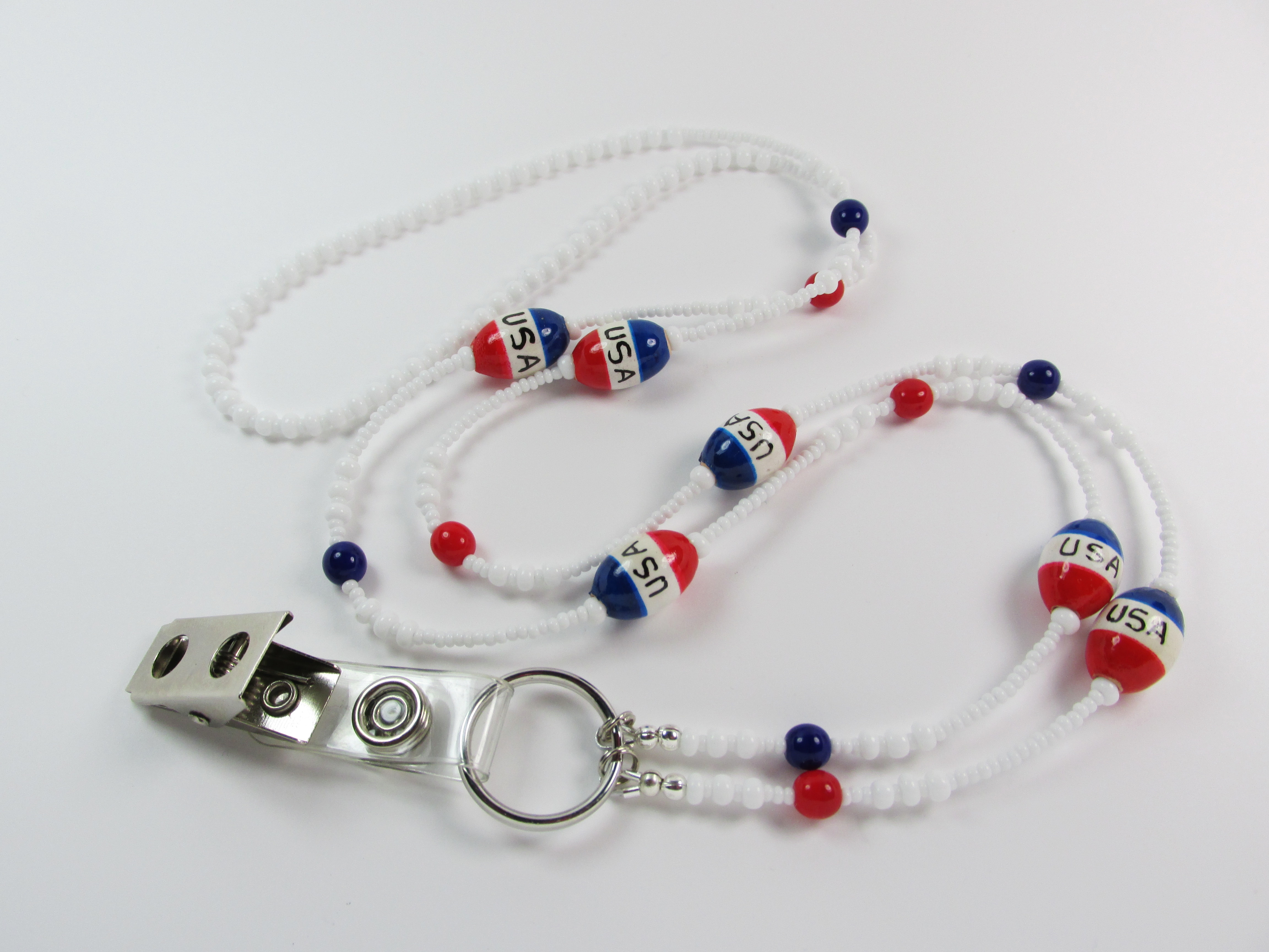 White, Red and  Blue Glass Beaded Badge Holder Necklace with Ceramic USA Beads