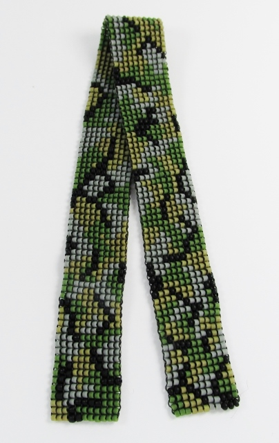 Hand woven, glass beaded bookmark in camoflauge colors