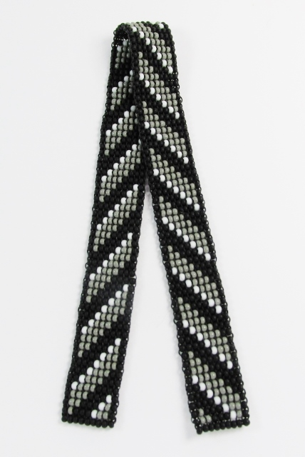 Black, gray and white diagonals beaded bookmark