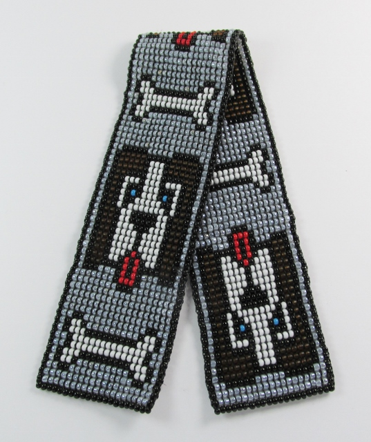 Glass beaded bookmark with dogs and  dog bones design