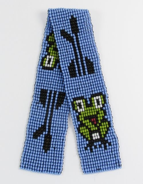 Blue beaded bookmark with green frogs and cattails design