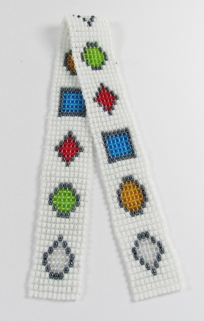 White glass beaded bookmark with assorted gemstone pattern