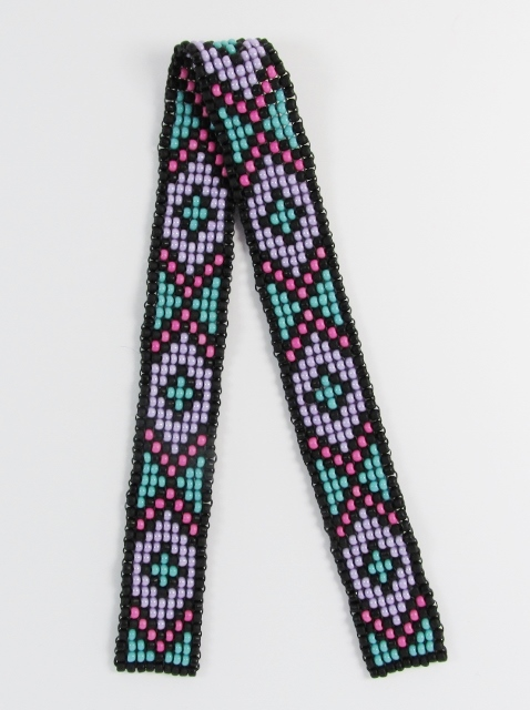 Turquoise, Pink, Purple and Black glass beaded bookmark