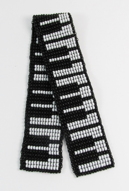Black and White glass beaded bookmark with piano keys design