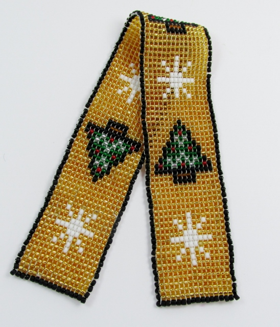 Gold beaded bookmark with Christmas Trees and Snowflakes design
