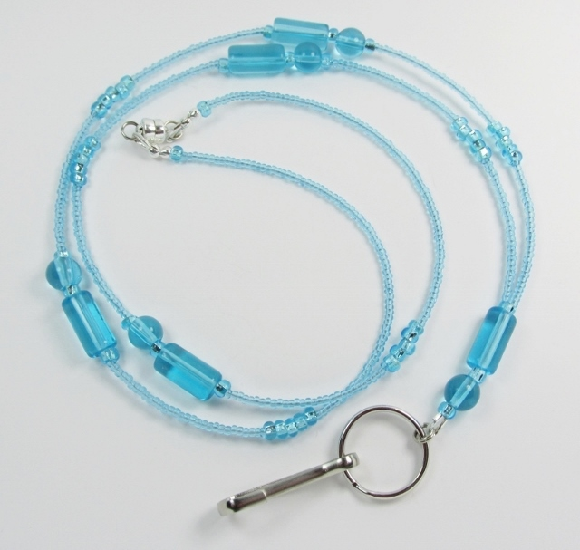 Aqua blue glass Beaded magnetic clasp badge holder necklace