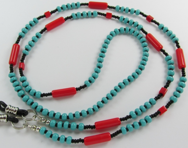 Aqua, Red and Black Beaded Eyeglass Necklace