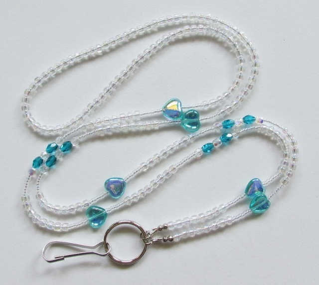 Clear and Aqua  beaded ID lanyard with Aqua heart beads