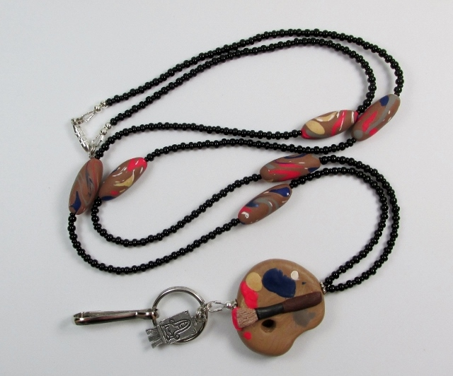 Artist Beaded Lanyard Necklace with Palette Bead and Easel Charm