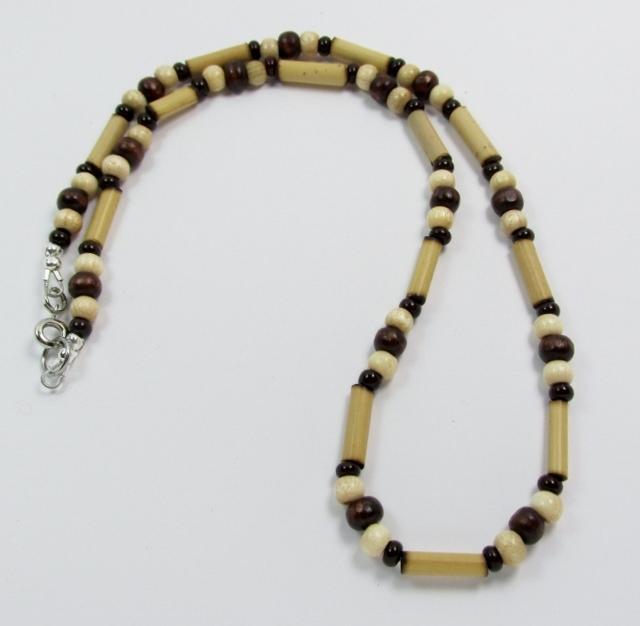 Brown, Tan, and  Black Wood and Glass Beaded Choker Necklace