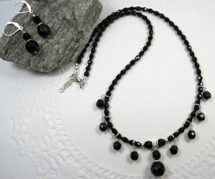 Sterling silver and  black beaded fringe necklace and earrings set