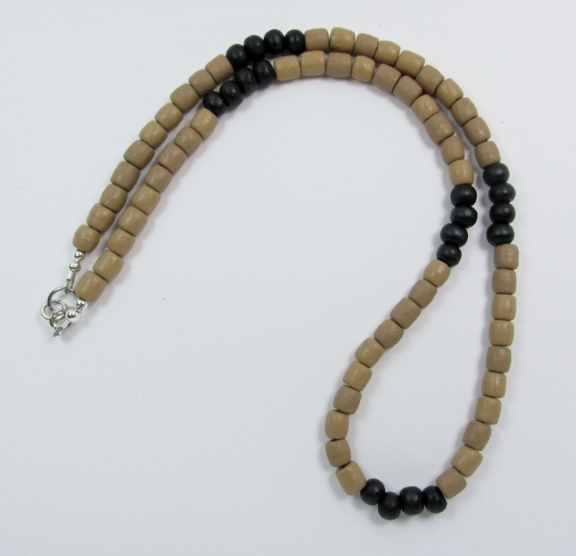 Black and Tan  Wood Beaded Choker Necklace