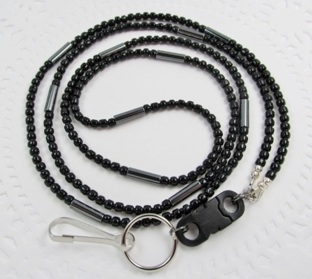 Black Pinch-And-Release ID badge holder with Hemalyke tube beads
