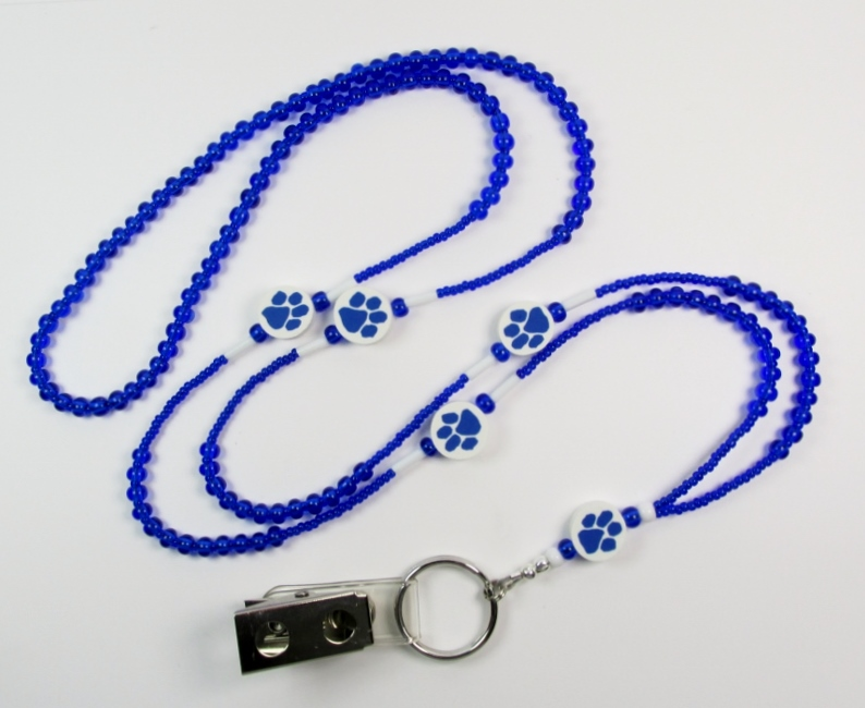 Blue and White beaded ID lanyard with blue paw print beads