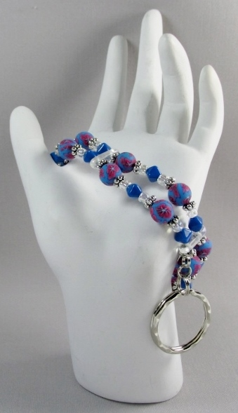 Blue and Red  beaded Key Ring Bracelet