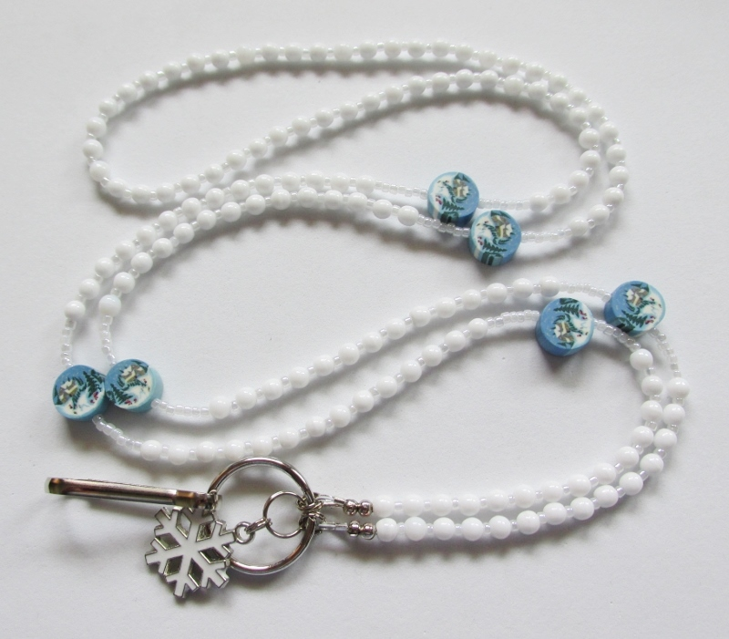 White and Blue Beaded  Lanyard with Snowy Cabin Fimo Beads