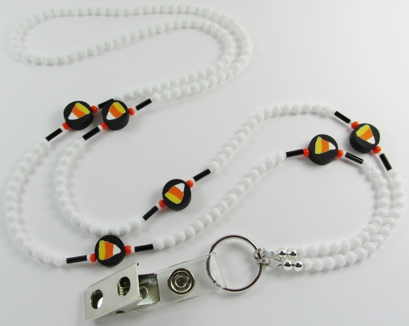 White  Glass Beaded Lanyard with Candy Corn Beads