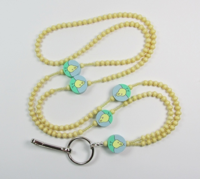 Tan Glass Beaded Lanyard with Fimo Chick Beads