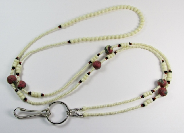 Black, Bone and  Brick Red Glass Beaded Lanyard with Multi Colored Fimo Rounds