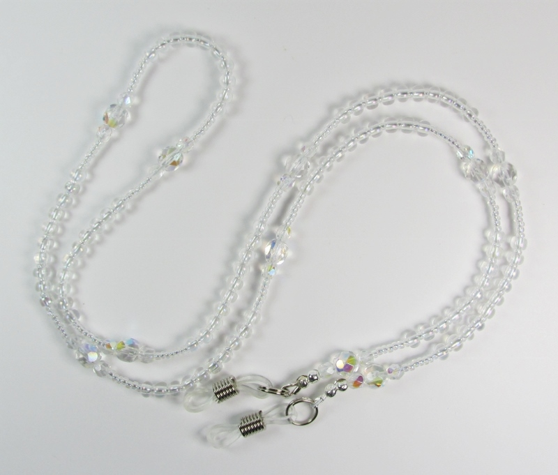 Crystal Clear Glass Beaded Eyeglass Necklace with Aurora Borealis Finish
