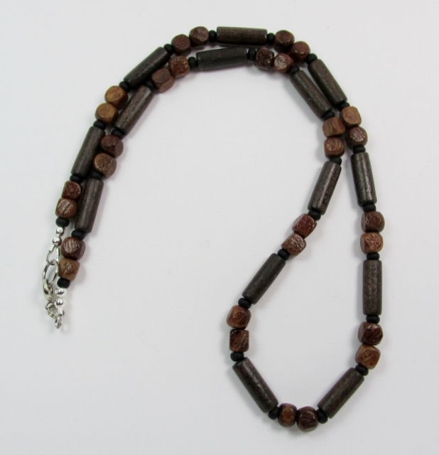 Brown Wood Cubes  and Tubes Beaded Choker Necklace