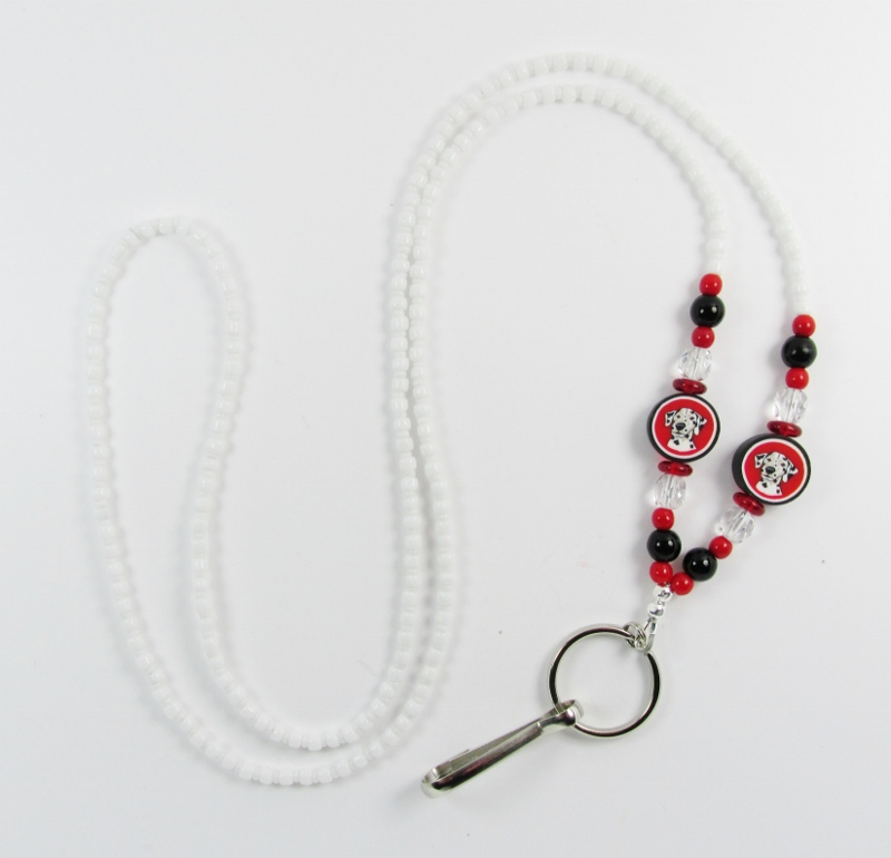 White, red,  black and clear glass beaded lanyard with fimo dalmation dog beads