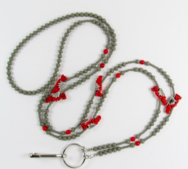 Grey and red  glass beaded lanyard with red ceramic dragon beads