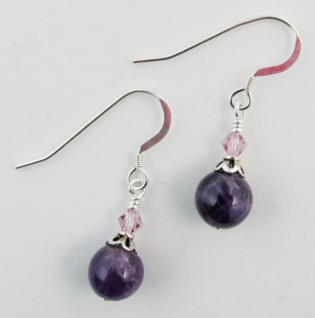 Amethyst and Swarovski Earrings