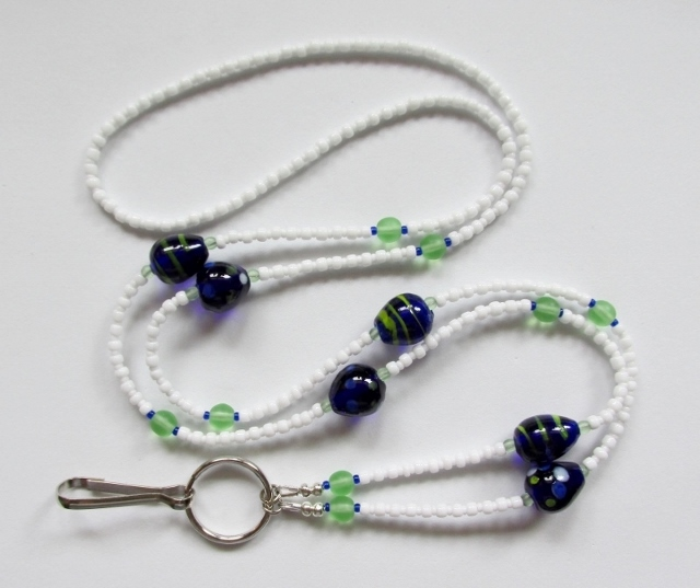 White, Green and Blue Glass Beaded Badge Holder Necklace with Blue and Green Lampwork Eggs