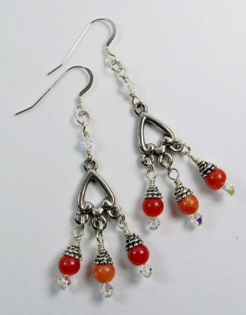 Orange Quartz and Swarovski Earrings