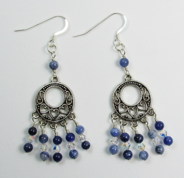 Blue Sodalite and Swarovski Earrings