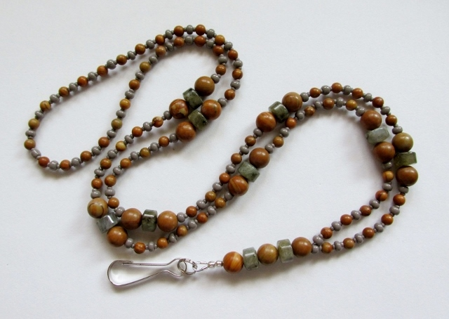 Labradorite  and Wood Grain Stone beaded lanyard necklace