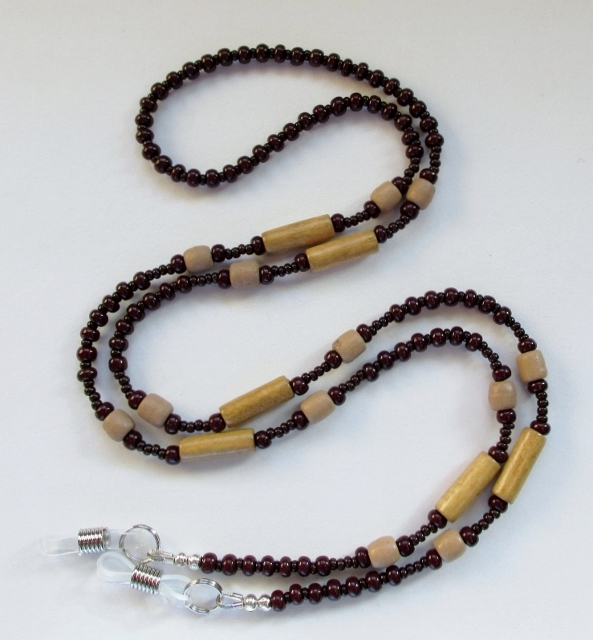 Glass and Wood Beaded Unisex Eyeglass Necklace