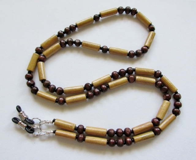 Natural and Dark Wood Beaded Unisex Eyeglass Necklace