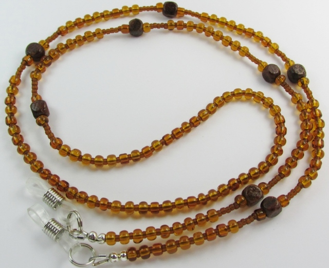 Light Brown Glass Beads with Tiny Dark Wood Cubes Beaded Unisex Eyeglass Necklace