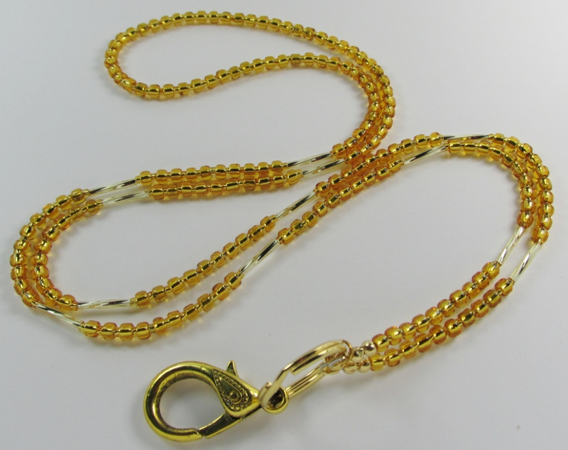 Shimmering Gold  glass beaded id lanyard necklace