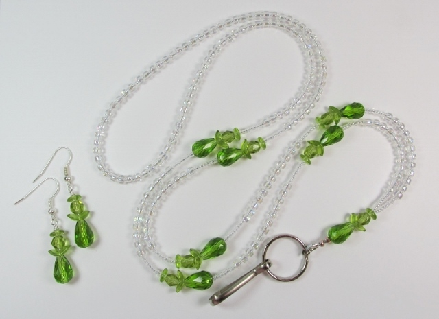 Green Angels Beaded ID Lanyard and Matching Pierced Earrings
