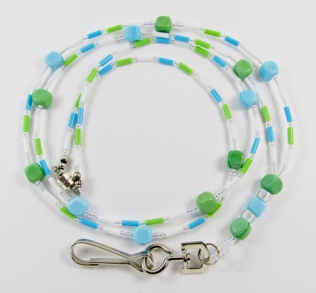 Multi pastel  colored glass beaded lanyard with magnetic breakaway clasp