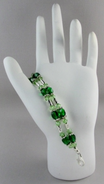 Clear Swarovski and  Green Glass Beaded Medical Alert Band