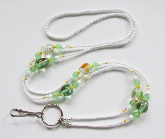 White Glass Beaded Badge Holder Necklace with Green Lampwork Glass Egg Beads