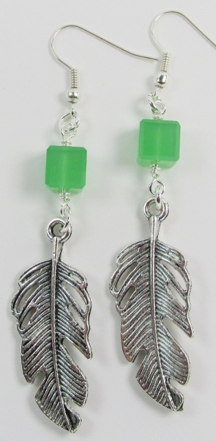 Green Glass Cubes and Silver Metal Feather Earrings