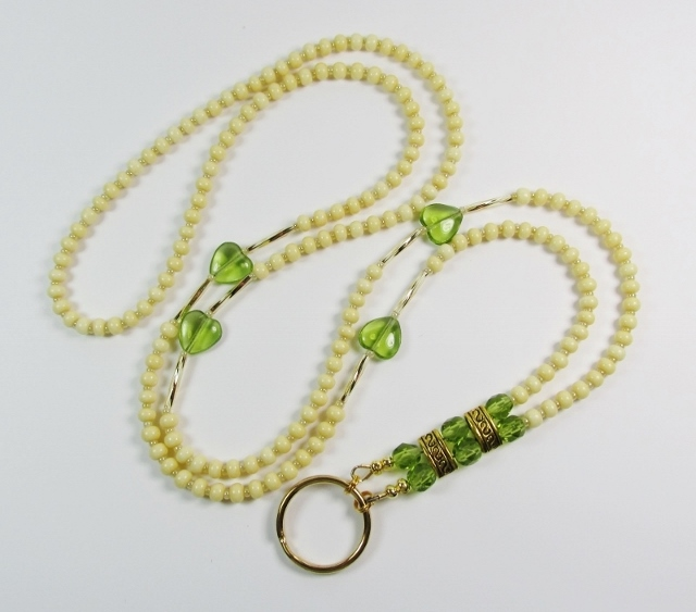 Beige, Green  and Gold Beaded Badge Holder Necklace with Green Glass Heart Beads
