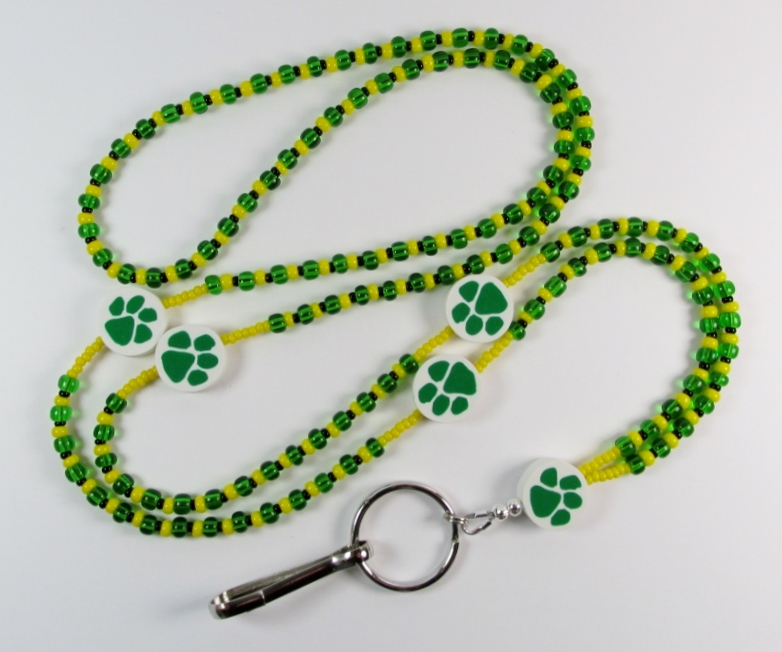 Green, Yellow and Black beaded lanyard with Green Paw Print Beads