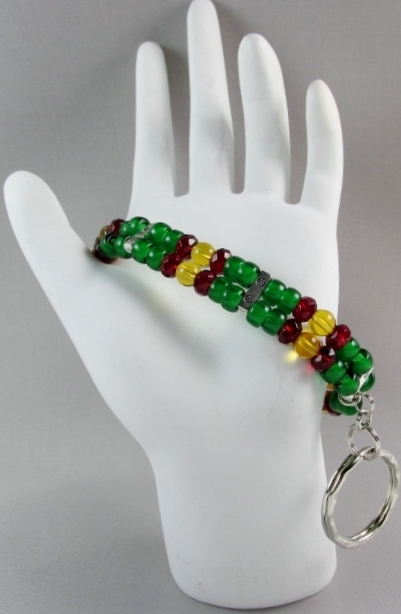 Green,  Topaz and Red beaded ID Wristlet