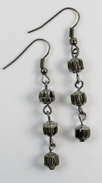 Gunmetal gray dangle earrings pierced style
