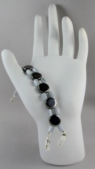 Gray and  Gunmetal Hematite beaded Medical Alert Band
