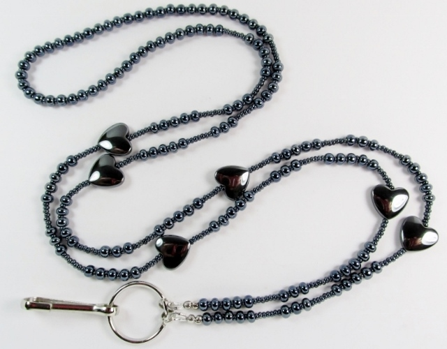 Iris Silver  beaded ID Lanyard with hemalyke heart beads