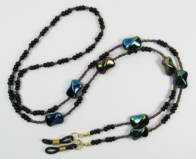 Twisted Purple Iris Beaded Eyeglass Necklace