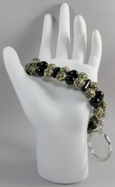 Black and Leopard  Print beaded Key Chain Bracelet